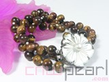 three rows 8mm tiger eye stone bracelet