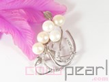 12mm white freshwater pearl brooch with white zircons