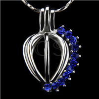 10pcs Heart with blue zircons Shape Silver Toned Copper Cage Pendant