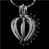 10pcs Heart with black zircons Shape Silver Toned Copper Cage Pendant