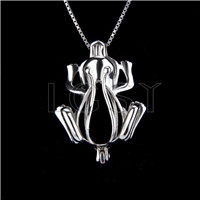 Fashion 925 Sterling Silver frog Cage Pendant