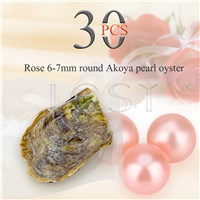 wholesale 6-7mm Rose saltwater round Akoya pearl oyster 30pcs