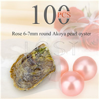 wholesale 6-7mm Rose saltwater round Akoya pearl oyster 100pcs