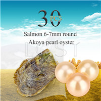 wholesale 6-7mm Salmon saltwater round Akoya pearl oyster 30pcs