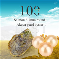 wholesale 6-7mm Salmon saltwater round Akoya pearl oyster 100pcs