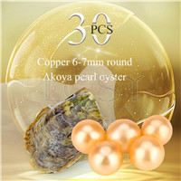 wholesale 6-7mm Copper saltwater round Akoya pearl oyster 30pcs