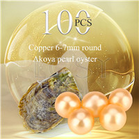 wholesale 6-7mm Copper saltwater round Akoya pearl oyster 100pcs