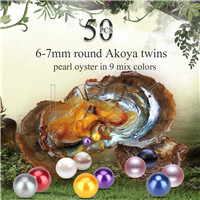 6-7mm mixed colors saltwater round Akoya twin pearls oyster 50pcs