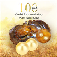 Newest 6-7mm Gold saltwater round Akoya twin pearls oyster 100pcs