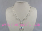6.5-7mm white akoya pearl necklace with crystal beads