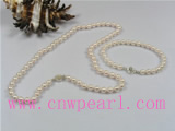 5.5-6mm white akoya pearl necklace set with bracelet