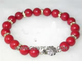 "7"" 8mm red round natural coral bracelet"