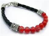 "7"" 6mm red round natural coral tibet silver clasp"
