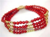 "4 rows 7"" 4-5mm red natural coral and bracelet"