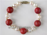 "7"" 12mm natural coral and 6.5mm freshwater pearl bracelet"