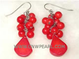 "2"" 6mm red round natural coral earrings"