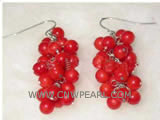 "2"" 4mm red round natural coral earrings"