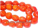 "16"" 12-15mm red irregular natural loose coral beads"