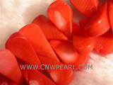 "16"" 12-14mm red melon seeds shape loose coral beads"