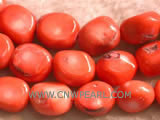 "16"" 12-14mm red irregular natural loose coral beads"