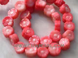 "16"" 12mm red flower shape loose coral beads"