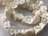 "16"" 8-12mm white flower shape natural loose coral beads"