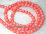 "16"" 8mm pink round natural loose coral beads"