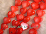 "16"" 8-12mm red heart shape natural loose coral strand"