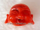20-25mm orange buddha head shape natural coral pendant