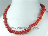 "16"" 8-12mm red irregular natural coral necklace"