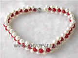 "3 rows 15"" 8mm round natural coral & freshwater pearl necklace"