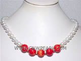 "18"" 12mm round natural coral & 7-8mm freshwater pearl necklace"