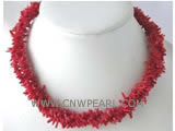 "3 rows 16"" red branch shape natural coral necklace"