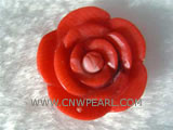 25mm orange & pink flower shape natural coral pendant