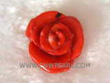 25mm red flower shape natural coral pendant