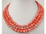 "17"" 7mm pink round natural coral necklace"