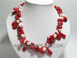 "17"" red irregular natural coral and white pearl necklace"