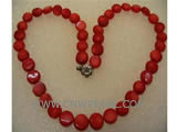 9*5mm red flat natural coral necklace
