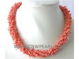 "4 rows 16"" 3-9mm pink branch of natural coral necklace"