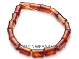 "7"" 8-10mm red column shape dream agate bracelet"