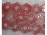 30mm hexagon with hole watermelon stone loose gemstone beads