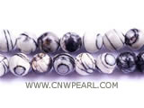 16mm black & white round jade loose gemstone beads