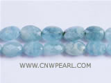 10-14mm light blue elliptical face jade loose gemstone beads