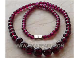 5-9mm dark red round garnet necklace