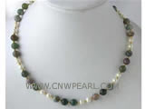 8mm 6-7mm white freshwater pearl & round agate necklace