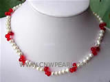 7-8mm white freshwater pearl & red crystal necklace