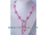 10mm pink lotus gemstone & amaranth shell necklace