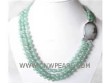 8mm 3 rows round jade necklace, shell clasp