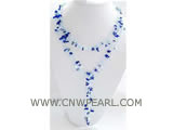 6-7mm blue plastic pearl & blue gemstone necklace