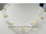 15mm white irregular crystal & freshwater pearl necklace
